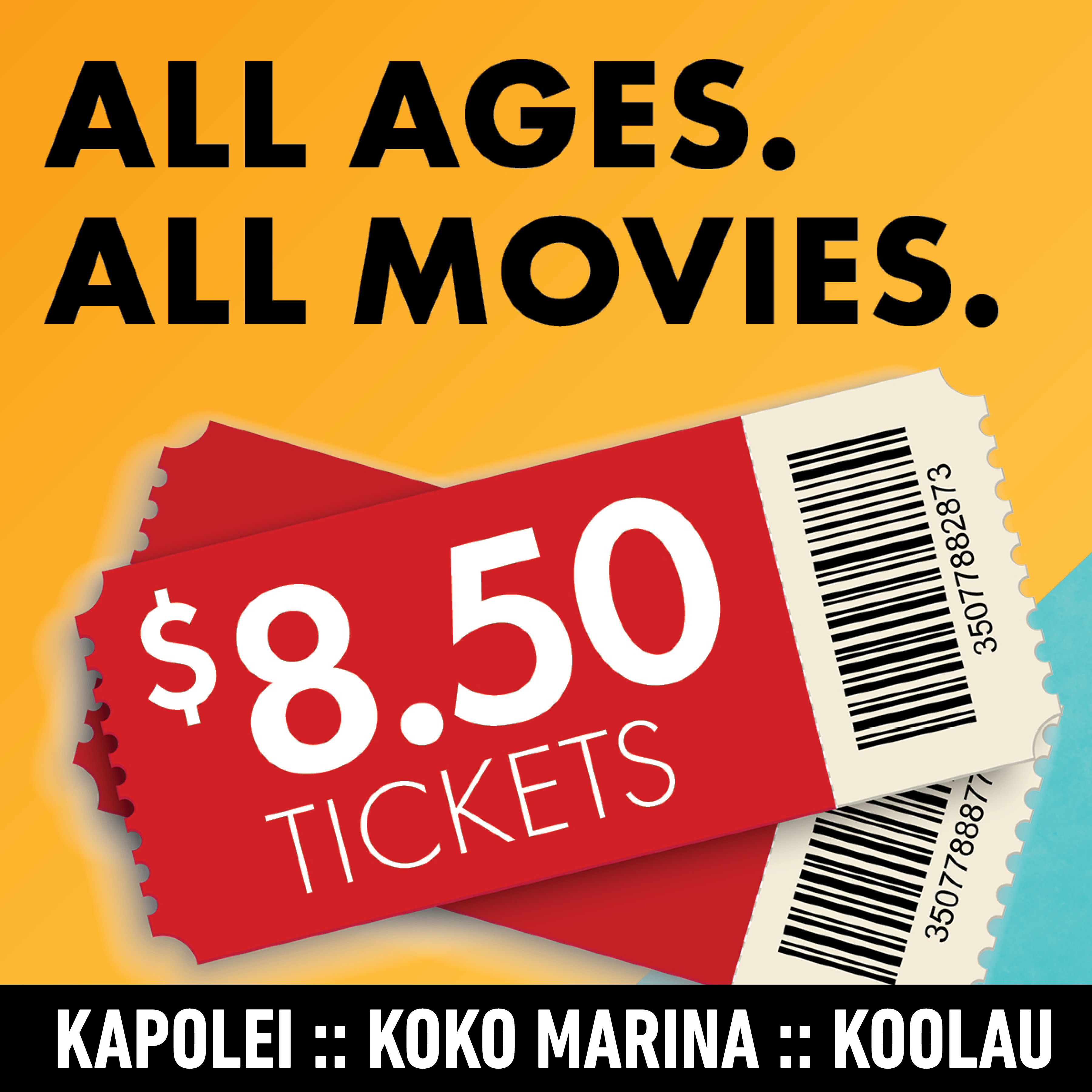 $8.50 Tickets For All Movies