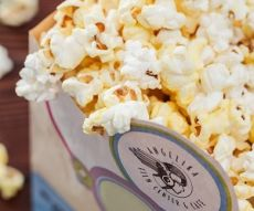 FREE POPCORN, an item offered on the food and drink specials